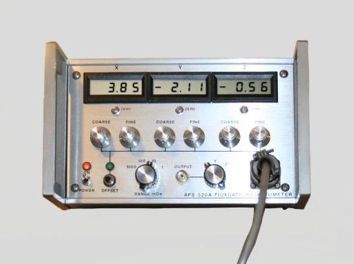 Appareil de mesure du champ magnétique ambiant, APPLIED PHYSICS SYSTEMS, 2000-2025, vue de face, © UM